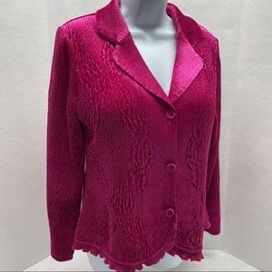 Chico's Long Sleeve 3 Button Pink Crinkle Blazer